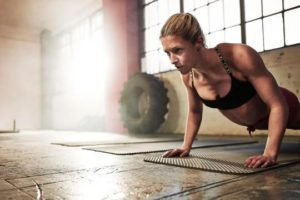 Woman doing body weight workout